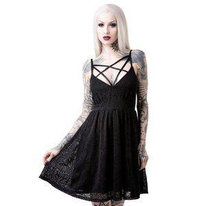 KILLSTAR Madelyn Sun Dress Strappy Star Black Lace